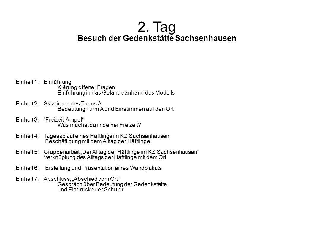 2. Tag Besuch der Gedenkstätte Sachsenhausen Einheit 1: Einführung Klärung offener Fragen Einführung in das Gelände anhand des Modells Einheit 2:Skizz