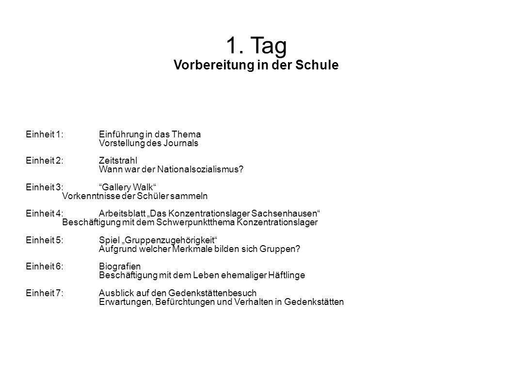 1. Tag Vorbereitung in der Schule Einheit 1: Einführung in das Thema Vorstellung des Journals Einheit 2:Zeitstrahl Wann war der Nationalsozialismus? E