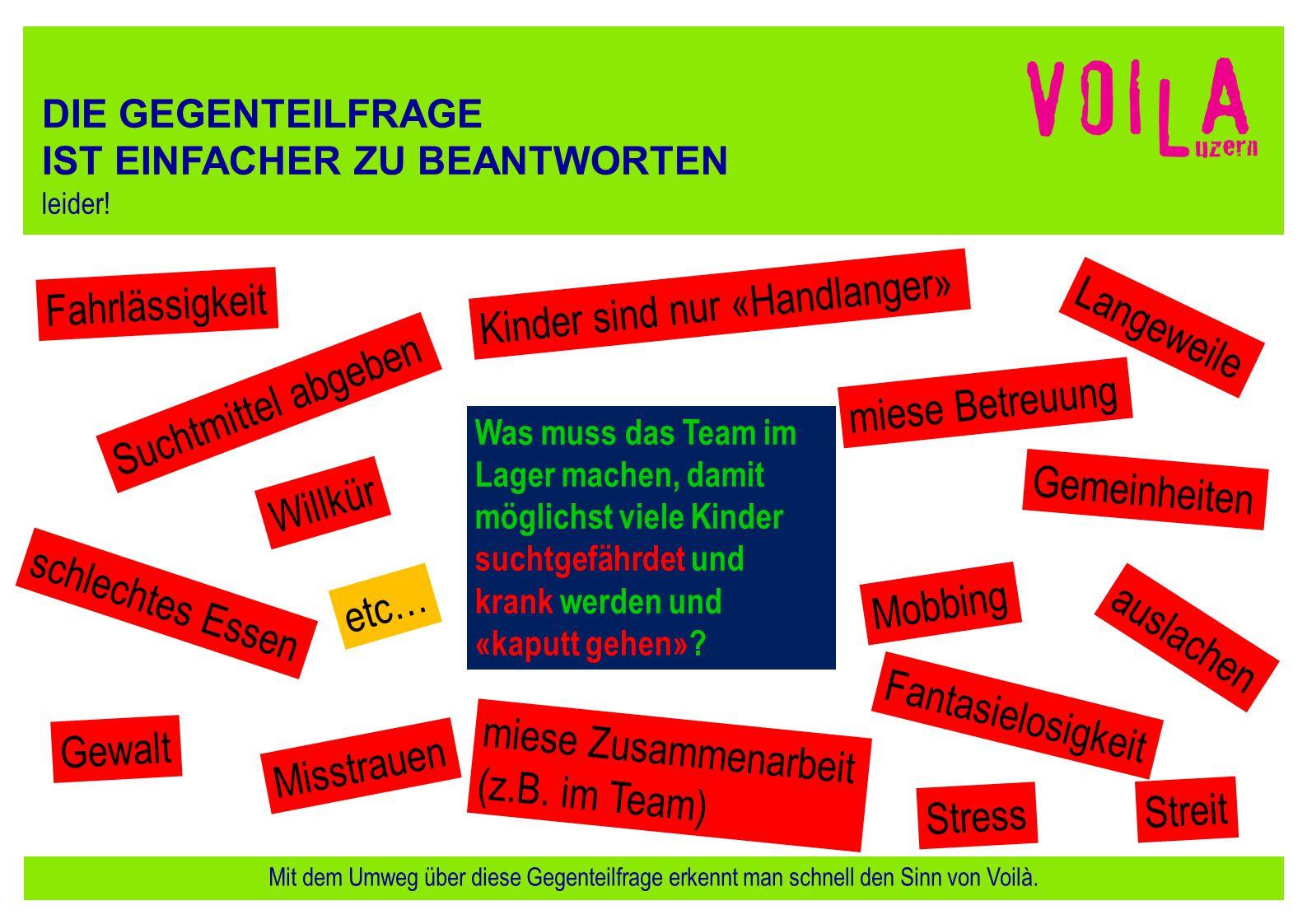 Voilà im Leiterkurs Ideen, Unterlagen etc.Besten Dank für eure Hilfe bei der Werbung für Voilà.