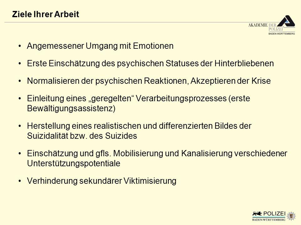 Angemessener Umgang mit Emotionen Erste Einschätzung des psychischen Statuses der Hinterbliebenen Normalisieren der psychischen Reaktionen, Akzeptiere