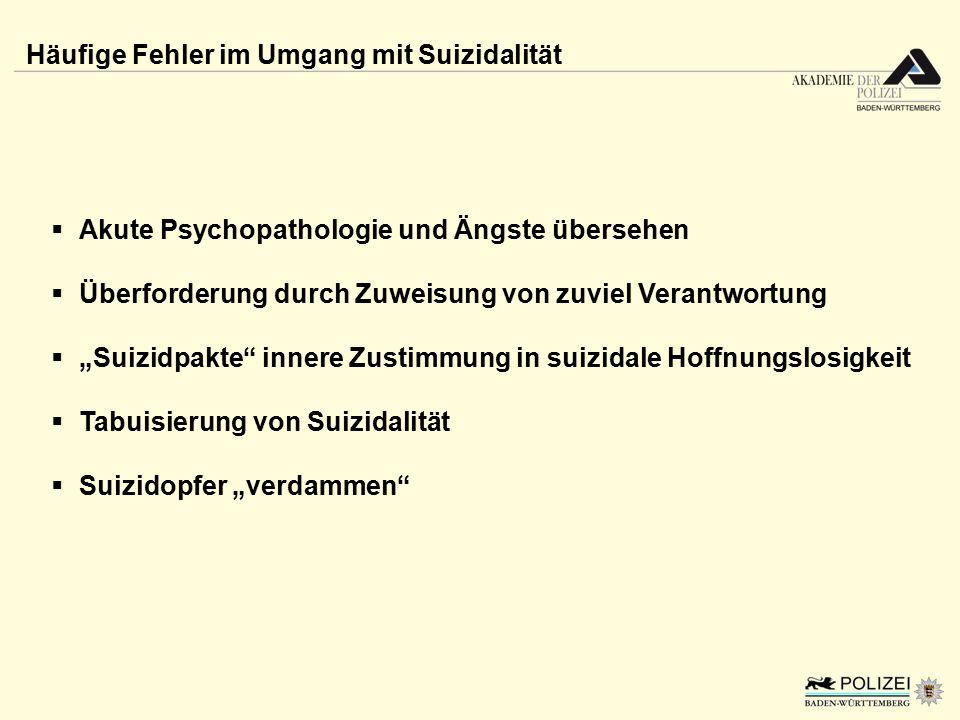 """Häufige Fehler im Umgang mit Suizidalität  Akute Psychopathologie und Ängste übersehen  Überforderung durch Zuweisung von zuviel Verantwortung  """"Su"""