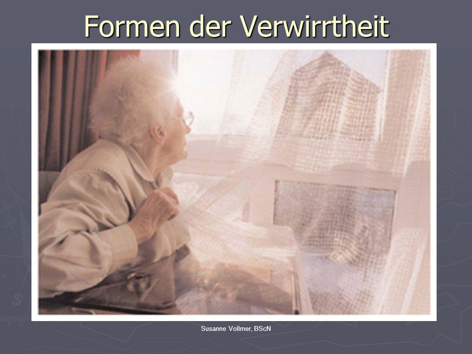 Susanne Vollmer, BScNDemenzformen Frontotemporale Demenzen Lewy-Körperchen Demenz Gemischte Demenz Vaskuläre Demenz Alzheimer- Krankheit ParkinsonAndere Einteilung der Demenzformen Förstl, Maelicke, Weichel, Taschenatlas Spezial Demenz, 2005