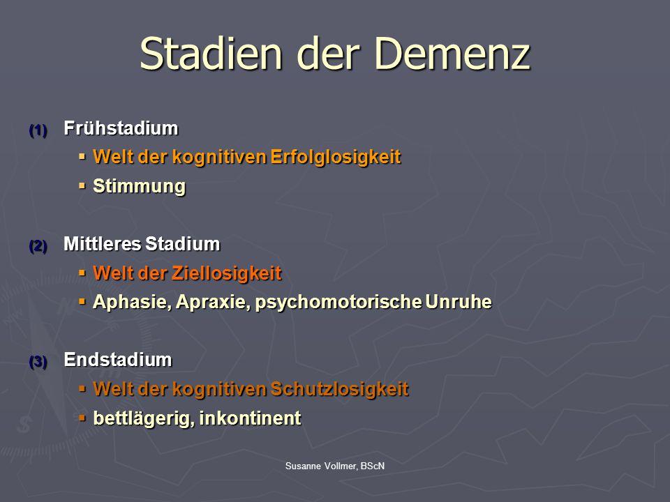 Susanne Vollmer, BScN Stadien der Demenz (1) Frühstadium  Welt der kognitiven Erfolglosigkeit  Stimmung (2) Mittleres Stadium  Welt der Ziellosigke