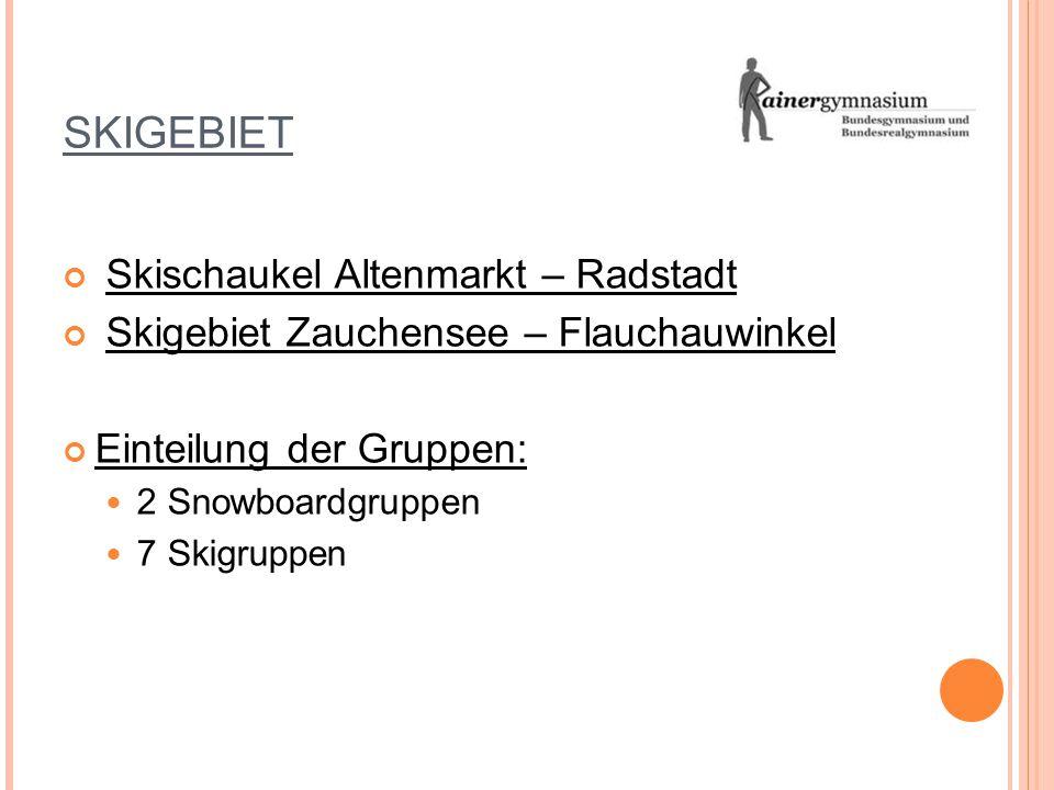 SKIGEBIET Skischaukel Altenmarkt – Radstadt Skigebiet Zauchensee – Flauchauwinkel Einteilung der Gruppen: 2 Snowboardgruppen 7 Skigruppen
