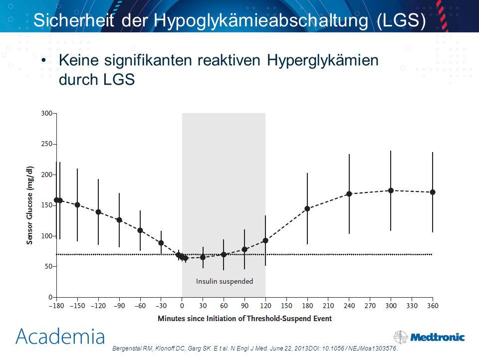 Sicherheit der Hypoglykämieabschaltung (LGS) Keine signifikanten reaktiven Hyperglykämien durch LGS Bergenstal RM, Klonoff DC, Garg SK. E t al. N Engl