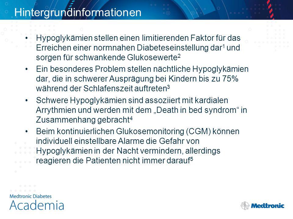Schlussfolgerungen Die Hypoglykämieabschaltung (LGS) verhindert signifikant Hypoglykämien in der Nacht und auch im Tagesablauf ohne Erhöhung des HbA 1c Sowohl die Rate als auch die Schwere von Hypoglykämien (AUC, Dauer) nehmen durch SuP + LGS ab Die Gefahr von reaktiven Hyperglykämien ist bei der Anwendung der SuP + LGS gering.