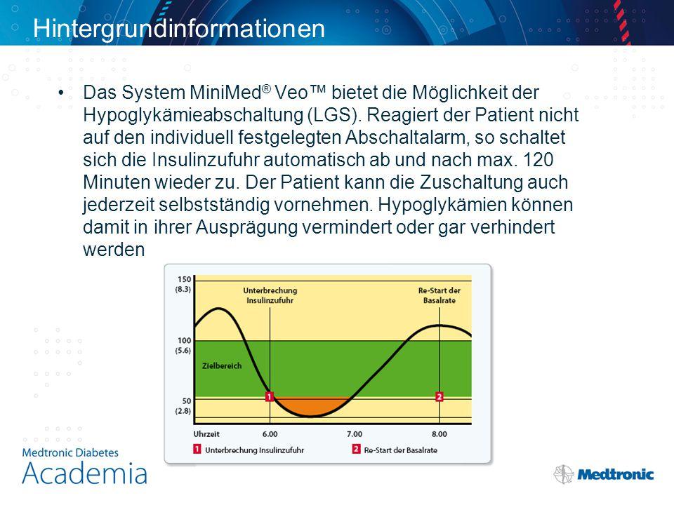 Hintergrundinformationen Das System MiniMed ® Veo™ bietet die Möglichkeit der Hypoglykämieabschaltung (LGS). Reagiert der Patient nicht auf den indivi