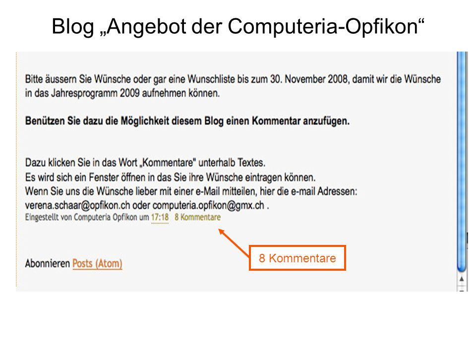 """Blog """"Angebot der Computeria-Opfikon 8 Kommentare"""