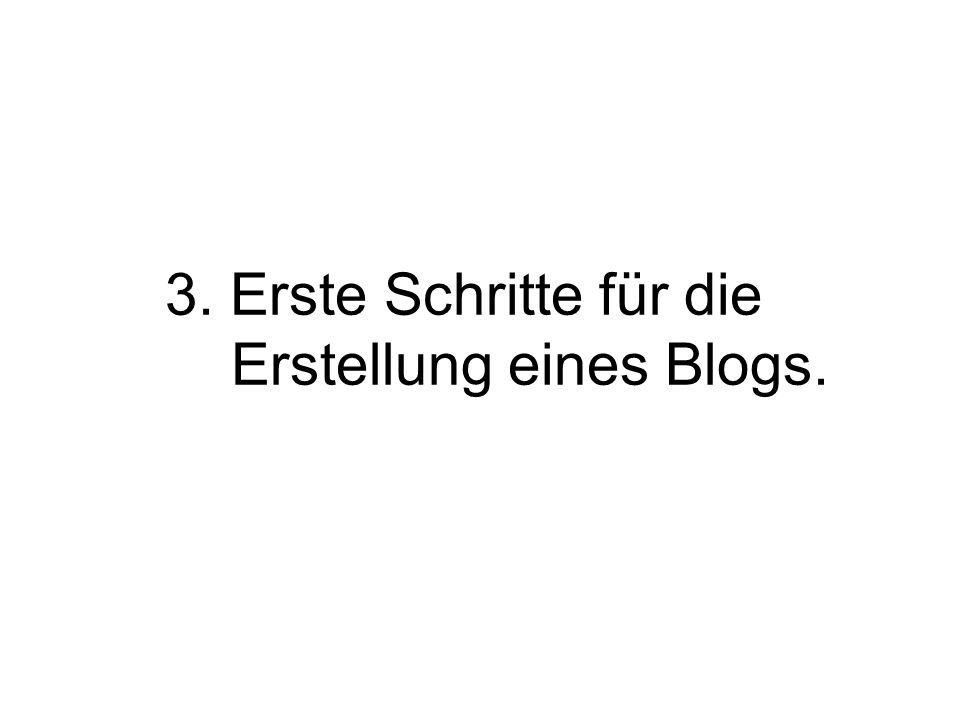3. Erste Schritte für die Erstellung eines Blogs.