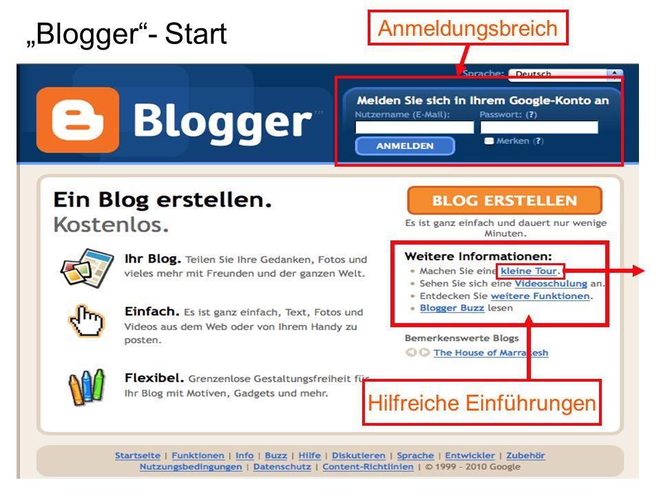 """""""Blogger - Start Anmeldungsbreich Hilfreiche Einführungen"""