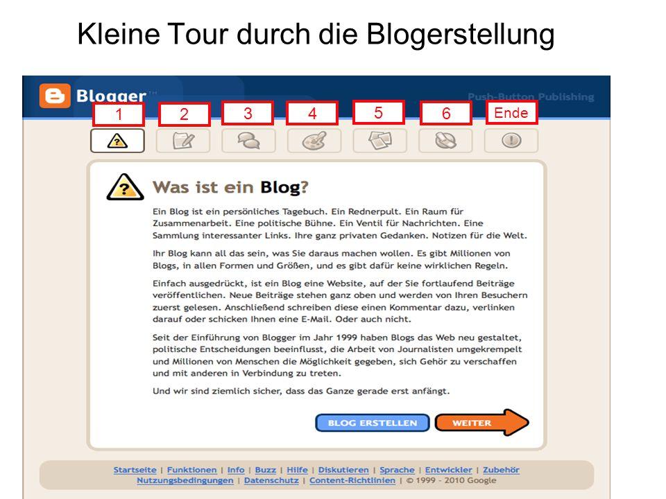 Kleine Tour durch die Blogerstellung 12 34 5 6 Ende