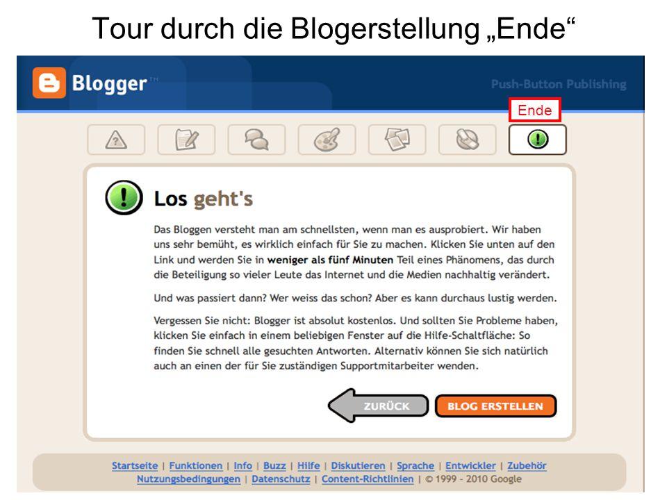 """Tour durch die Blogerstellung """"Ende Ende"""