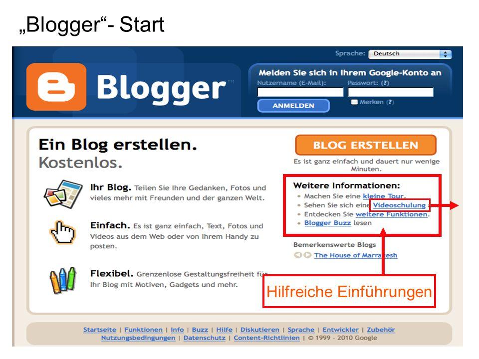"""""""Blogger - Start Hilfreiche Einführungen"""