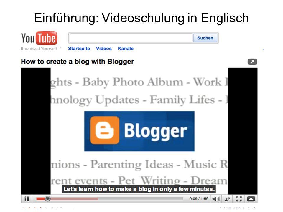 Einführung: Videoschulung in Englisch