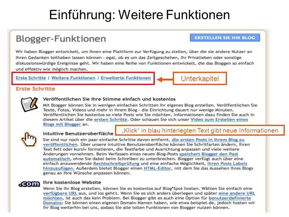 """Einführung: Weitere Funktionen Unterkapitel """"Klick in blau hinterlegten Text gibt neue Informationen"""