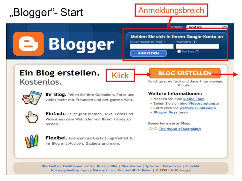 """""""Blogger - Start Anmeldungsbreich Klick"""