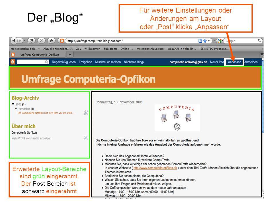 """Der """"Blog Für weitere Einstellungen oder Änderungen am Layout oder """"Post klicke """"Anpassen Erweiterte Layout-Bereiche sind grün eingerahmt."""