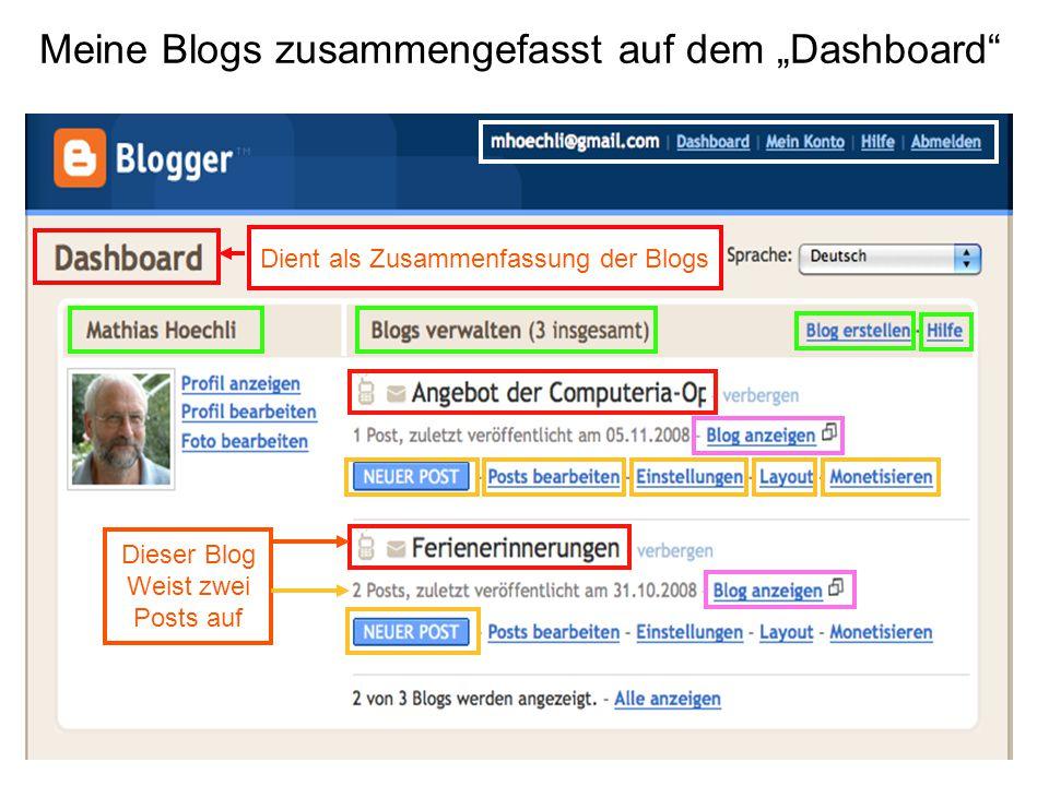 """Meine Blogs zusammengefasst auf dem """"Dashboard Dient als Zusammenfassung der Blogs Dieser Blog Weist zwei Posts auf"""