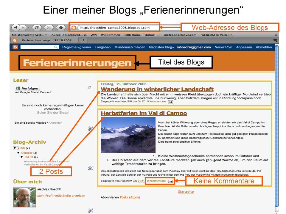 """Einer meiner Blogs """"Ferienerinnerungen Titel des Blogs 2 Posts Keine Kommentare Web-Adresse des Blogs"""