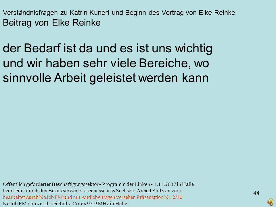 Verständnisfragen zu Katrin Kunert und Beginn des Vortrag von Elke Reinke 44 Öffentlich geförderter Beschäftigungssektor - Programm der Linken - 1.11.2007 in Halle bearbeitet durch den Bezirkserwerbslosenausschuss Sachsen- Anhalt Süd von ver.di bearbeitet durch NoJob FM und mit Audiobeiträgen versehen Präsentation Nr.