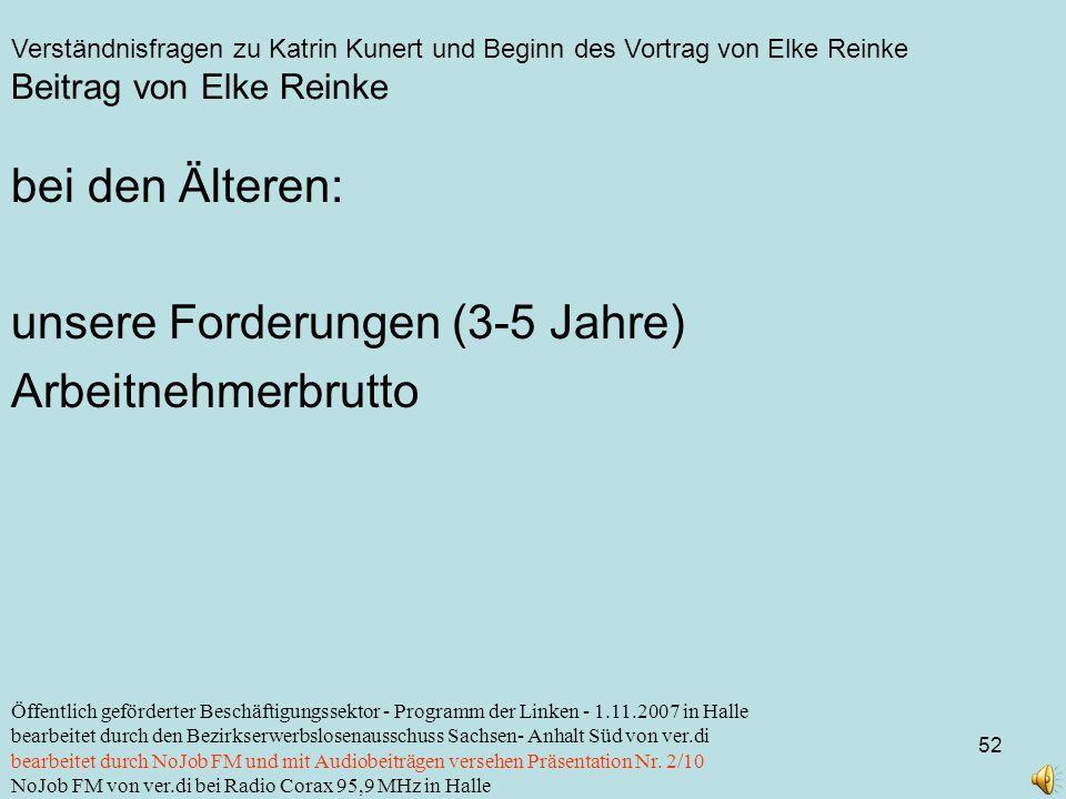 Verständnisfragen zu Katrin Kunert und Beginn des Vortrag von Elke Reinke 52 Öffentlich geförderter Beschäftigungssektor - Programm der Linken - 1.11.2007 in Halle bearbeitet durch den Bezirkserwerbslosenausschuss Sachsen- Anhalt Süd von ver.di bearbeitet durch NoJob FM und mit Audiobeiträgen versehen Präsentation Nr.