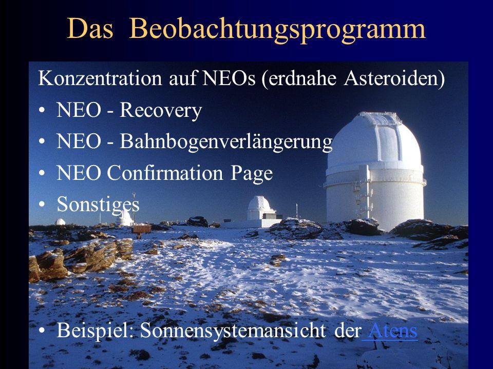 Das Beobachtungsprogramm Konzentration auf NEOs (erdnahe Asteroiden) NEO - Recovery NEO - Bahnbogenverlängerung NEO Confirmation Page Sonstiges Beispi