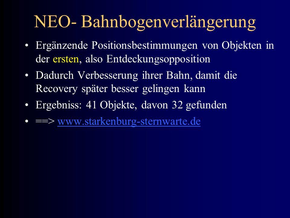NEO- Bahnbogenverlängerung Ergänzende Positionsbestimmungen von Objekten in der ersten, also Entdeckungsopposition Dadurch Verbesserung ihrer Bahn, da