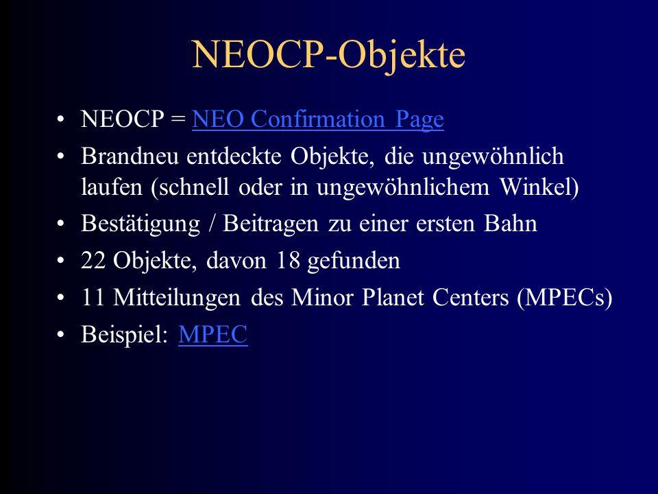 NEOCP-Objekte NEOCP = NEO Confirmation PageNEO Confirmation Page Brandneu entdeckte Objekte, die ungewöhnlich laufen (schnell oder in ungewöhnlichem W