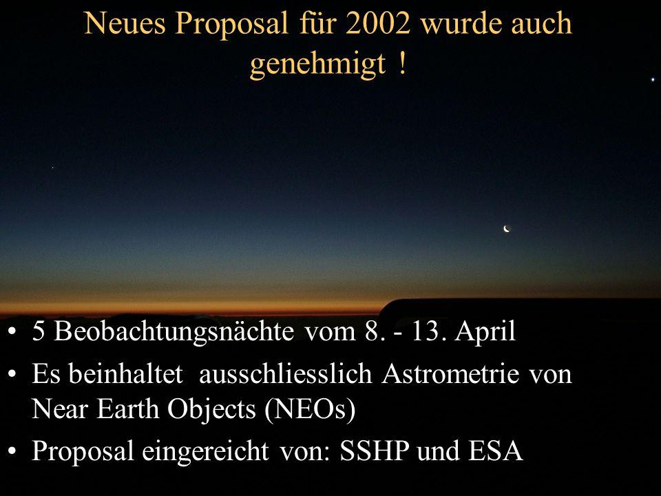Neues Proposal für 2002 wurde auch genehmigt ! 5 Beobachtungsnächte vom 8. - 13. April Es beinhaltet ausschliesslich Astrometrie von Near Earth Object