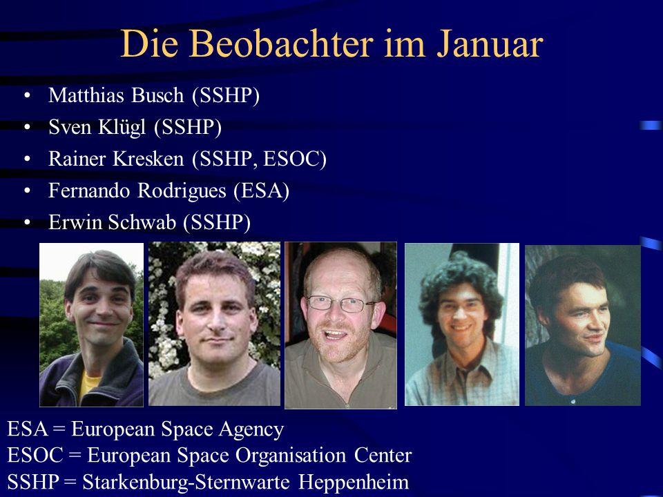 Die Beobachter im Januar Matthias Busch (SSHP) Sven Klügl (SSHP) Rainer Kresken (SSHP, ESOC) Fernando Rodrigues (ESA) Erwin Schwab (SSHP) ESA = Europe