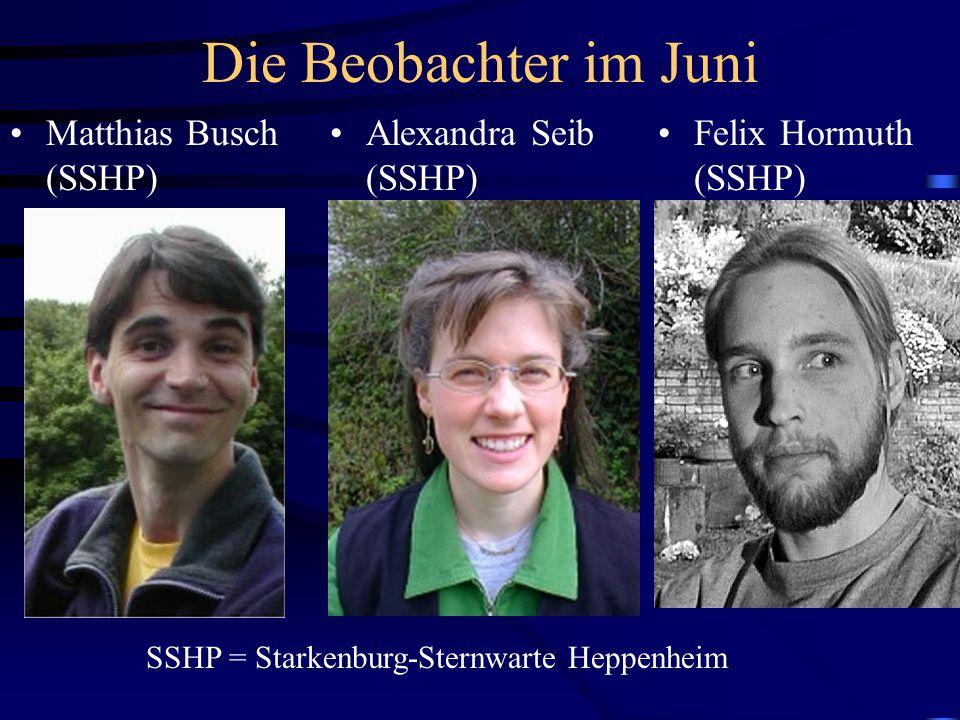 Das Auswerteteam im Januar und Juni Reiner Stoss (SSHP) ASB = Archenhold-Sternwarte Berlin SSHP = Starkenburg-Sternwarte Heppenheim Arno Gnädig (ASB) Andreas Doppler (ASB)
