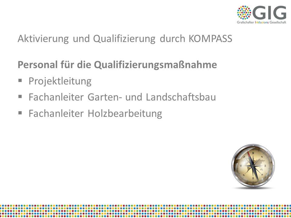 Aktivierung und Qualifizierung durch KOMPASS Personal für die Qualifizierungsmaßnahme  Projektleitung  Fachanleiter Garten- und Landschaftsbau  Fac