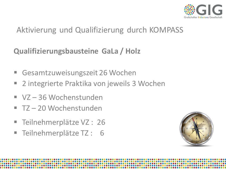 Aktivierung und Qualifizierung durch KOMPASS Qualifizierungsbausteine GaLa / Holz  Gesamtzuweisungszeit 26 Wochen  2 integrierte Praktika von jeweil