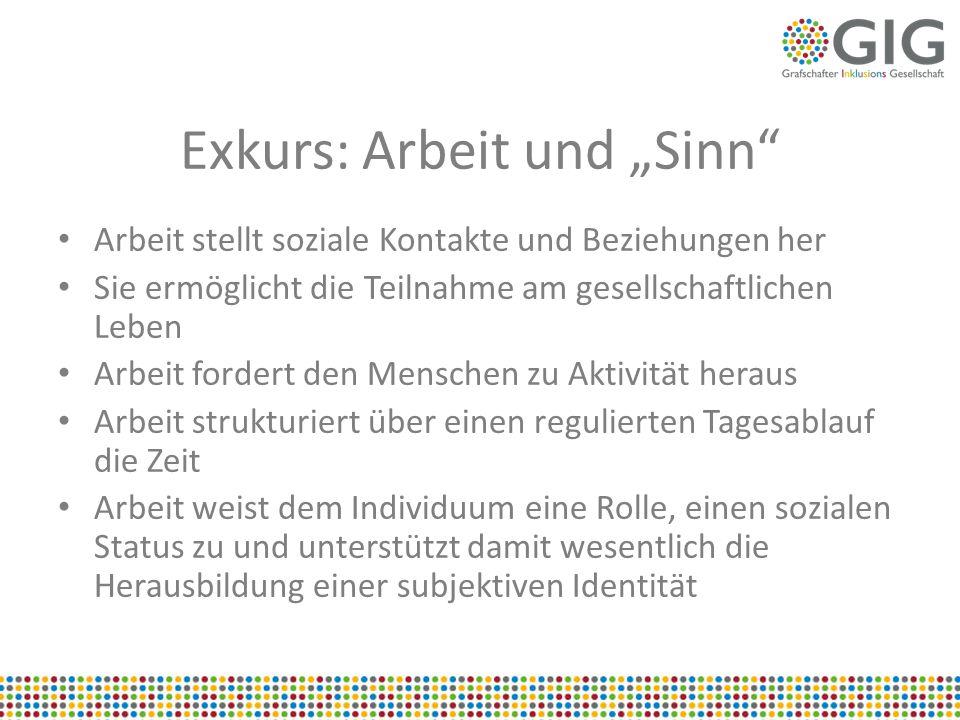 """Exkurs: Arbeit und """"Sinn"""" Arbeit stellt soziale Kontakte und Beziehungen her Sie ermöglicht die Teilnahme am gesellschaftlichen Leben Arbeit fordert d"""