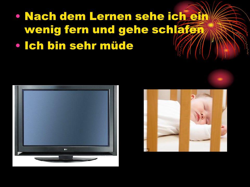 Nach dem Lernen sehe ich ein wenig fern und gehe schlafen Ich bin sehr müde