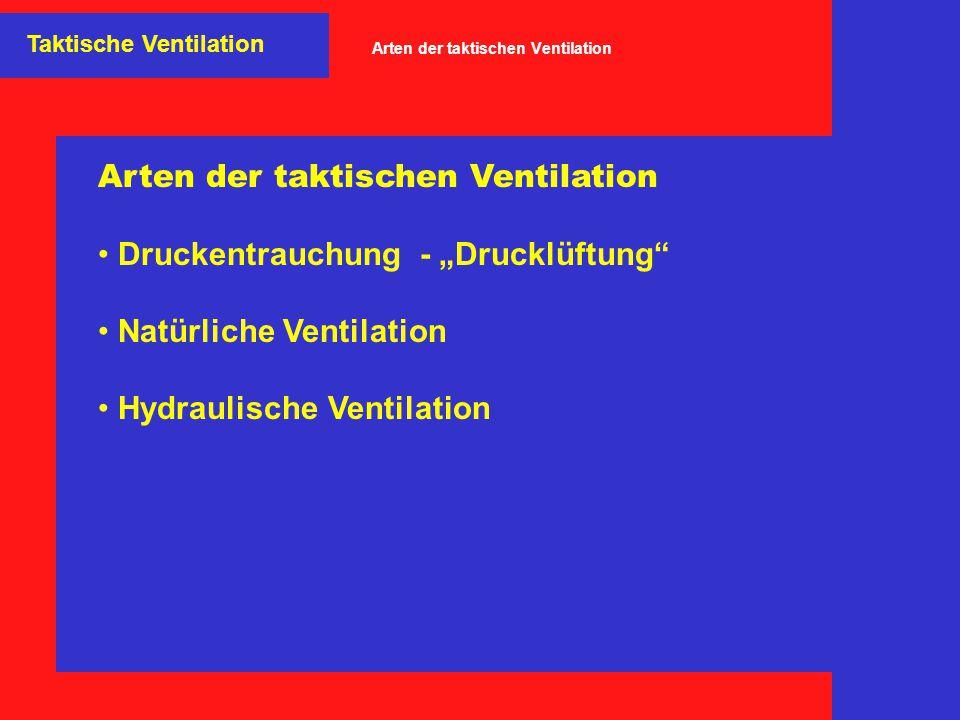 """Arten der taktischen Ventilation Druckentrauchung - """"Drucklüftung"""" Natürliche Ventilation Hydraulische Ventilation Taktische Ventilation Arten der tak"""