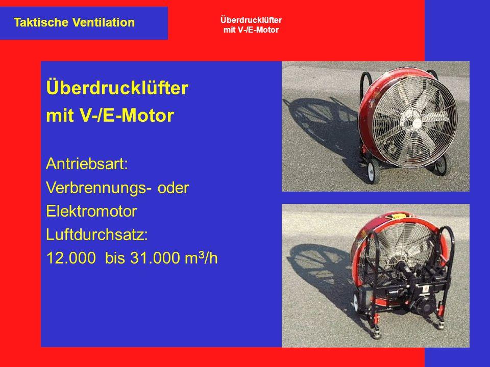 Überdrucklüfter mit V-/E-Motor Antriebsart: Verbrennungs- oder Elektromotor Luftdurchsatz: 12.000 bis 31.000 m 3 /h Taktische Ventilation Überdrucklüf