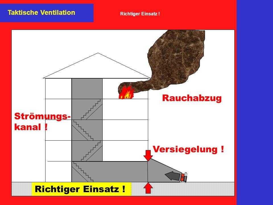Versiegelung ! Richtiger Einsatz ! Strömungs- kanal ! Rauchabzug Taktische Ventilation Richtiger Einsatz !