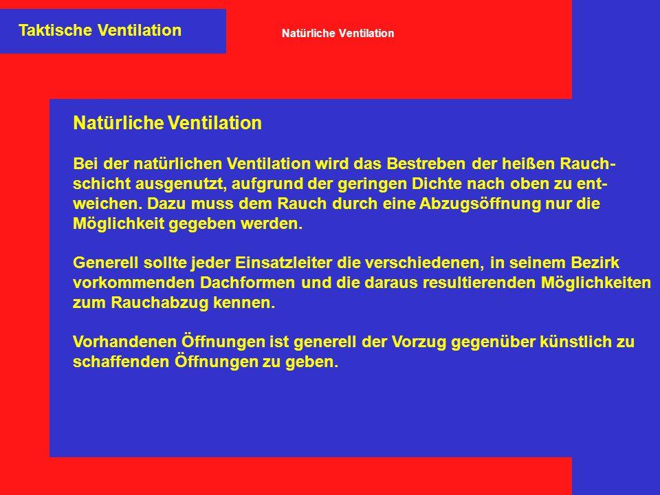 Taktische Ventilation Natürliche Ventilation Bei der natürlichen Ventilation wird das Bestreben der heißen Rauch- schicht ausgenutzt, aufgrund der ger