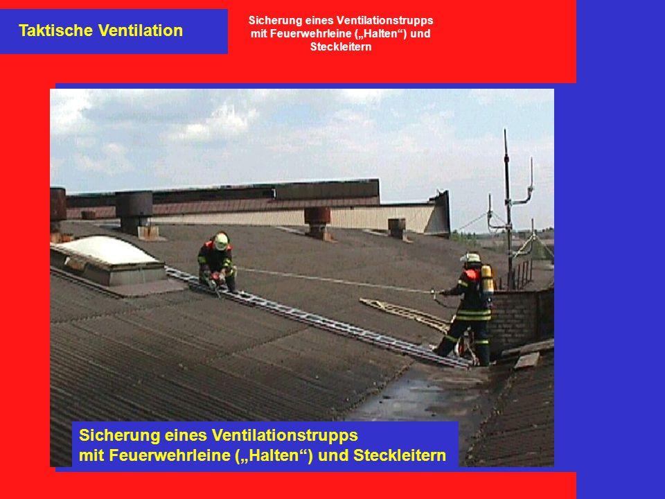 """Taktische Ventilation Sicherung eines Ventilationstrupps mit Feuerwehrleine (""""Halten"""") und Steckleitern Sicherung eines Ventilationstrupps mit Feuerwe"""