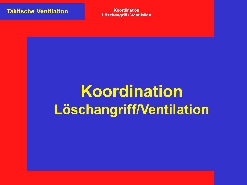 Koordination Löschangriff/Ventilation Taktische Ventilation Koordination Löschangriff / Ventilation