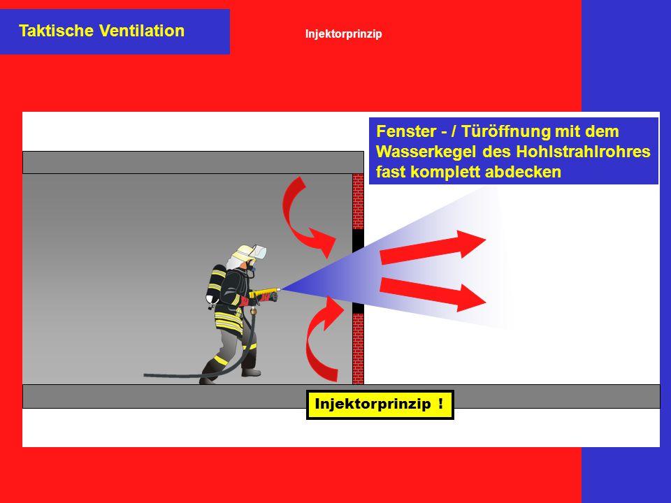 Taktische Ventilation Fenster - / Türöffnung mit dem Wasserkegel des Hohlstrahlrohres fast komplett abdecken Injektorprinzip ! Injektorprinzip