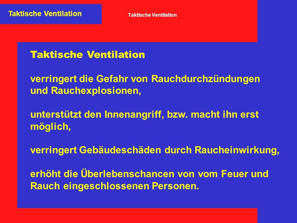 Taktische Ventilation Natürliche Ventilation Bei der natürlichen Ventilation wird das Bestreben der heißen Rauch- schicht ausgenutzt, aufgrund der geringen Dichte nach oben zu ent- weichen.