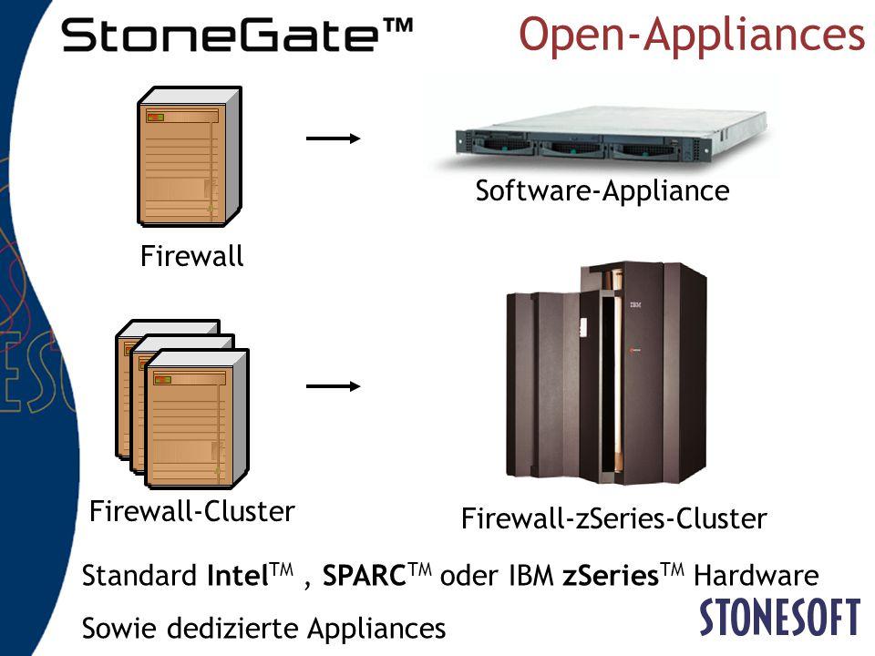Für einzelne... … und geclusterte Firewalls Einfache Verwaltung Permanentes Management Für alle Ebenen (OS, FW, HA) GUIManagement ServerFirewall-Knote