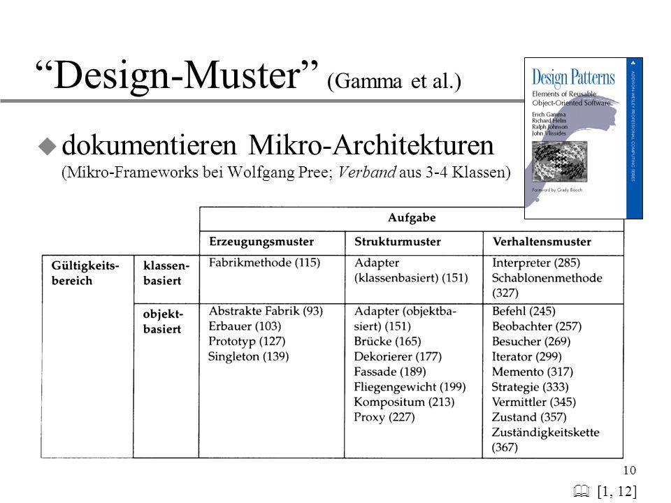 "10 ""Design-Muster"" (Gamma et al.)   [1, 12] u dokumentieren Mikro-Architekturen (Mikro-Frameworks bei Wolfgang Pree; Verband aus 3-4 Klassen)"