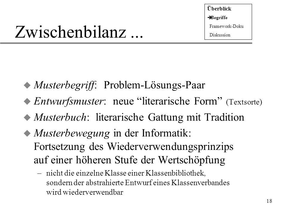 """18 Zwischenbilanz... u Musterbegriff: Problem-Lösungs-Paar u Entwurfsmuster: neue """"literarische Form"""" (Textsorte) u Musterbuch: literarische Gattung m"""