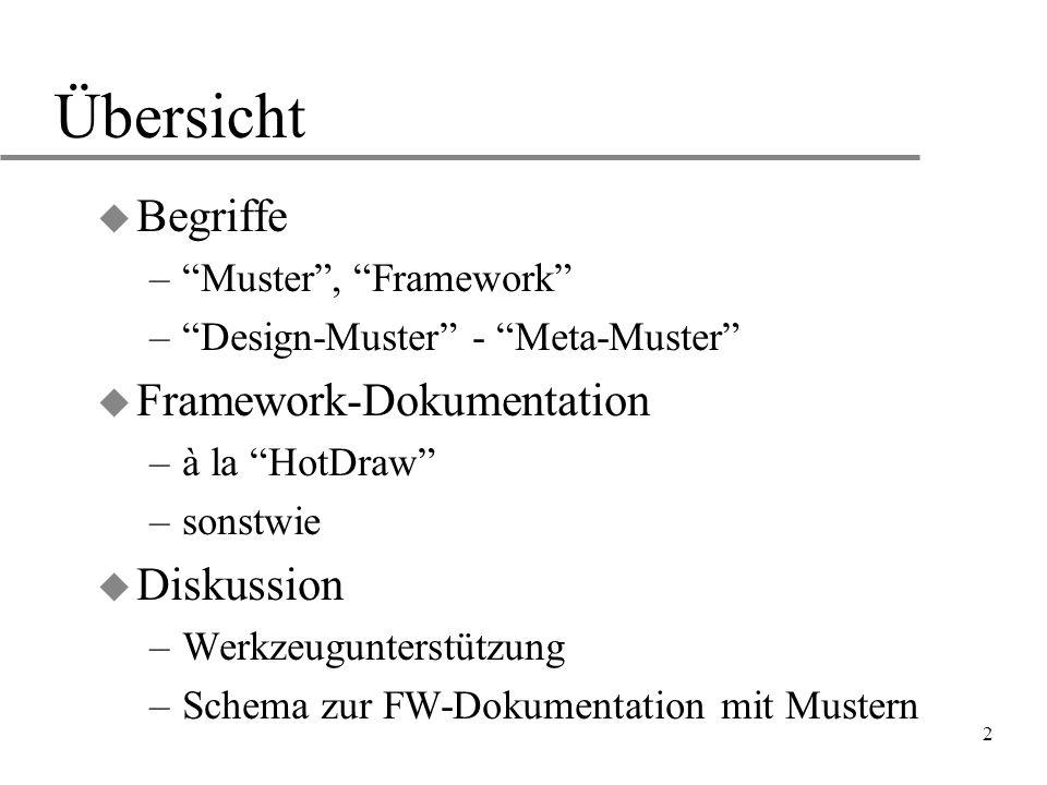 """2 Übersicht u Begriffe –""""Muster"""", """"Framework"""" –""""Design-Muster"""" - """"Meta-Muster"""" u Framework-Dokumentation –à la """"HotDraw"""" –sonstwie u Diskussion –Werkz"""