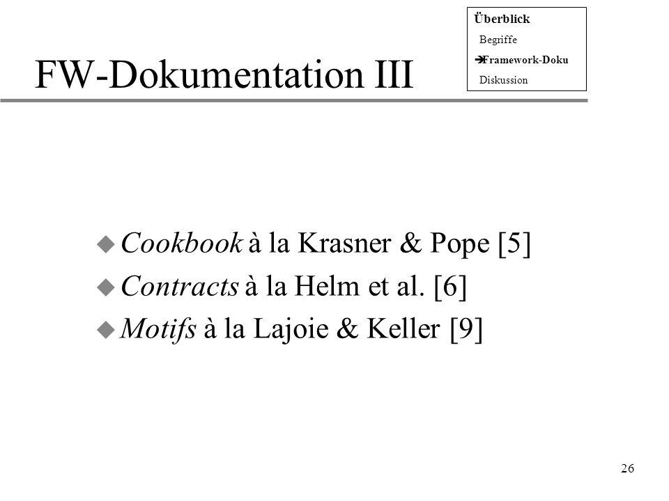 26 FW-Dokumentation III u Cookbook à la Krasner & Pope [5] u Contracts à la Helm et al. [6] u Motifs à la Lajoie & Keller [9] Überblick  Begriffe  F