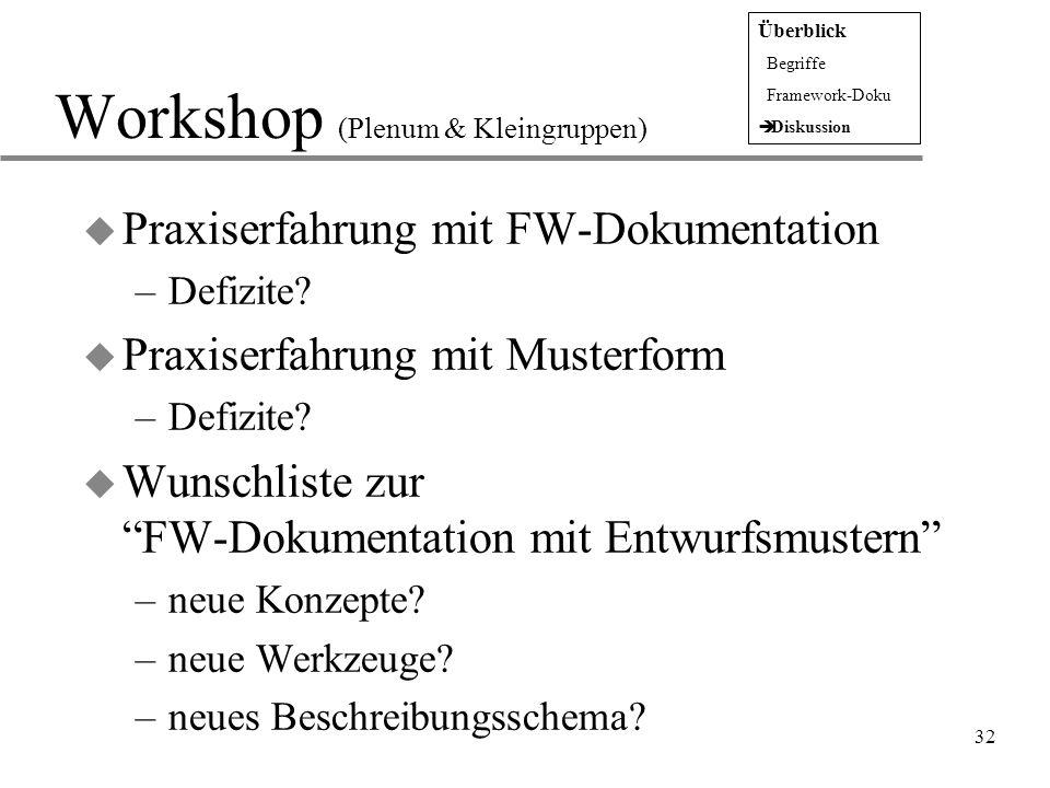 """32 Workshop (Plenum & Kleingruppen) u Praxiserfahrung mit FW-Dokumentation –Defizite? u Praxiserfahrung mit Musterform –Defizite? u Wunschliste zur """"F"""