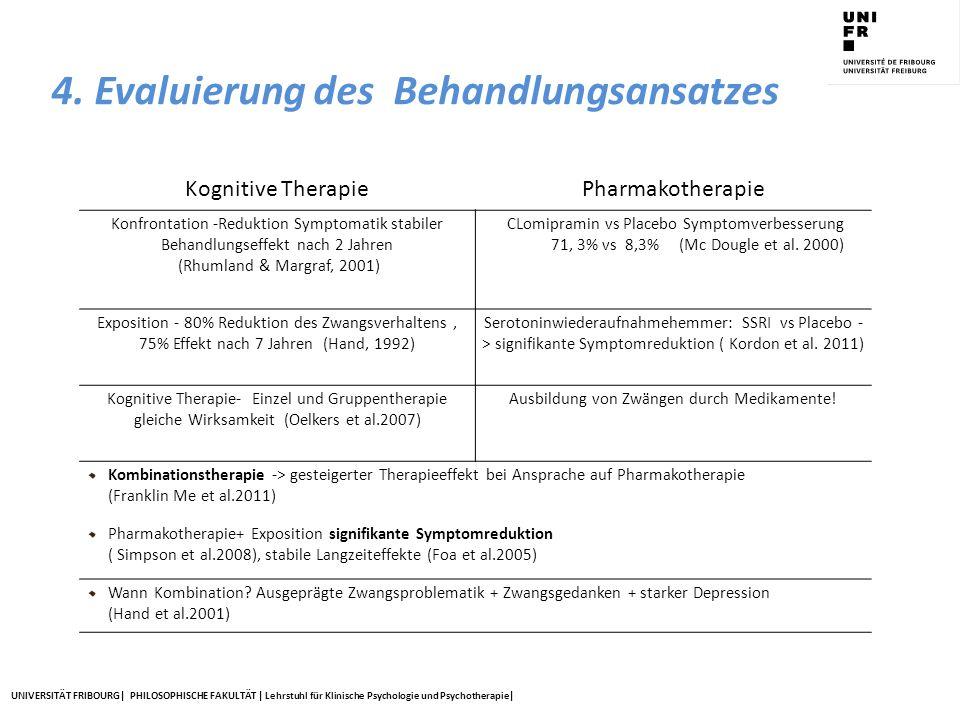 UNIVERSITÄT FRIBOURG| PHILOSOPHISCHE FAKULTÄT | Lehrstuhl für Klinische Psychologie und Psychotherapie| 4. Evaluierung des Behandlungsansatzes Kognit